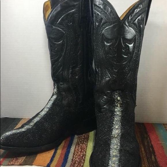 452bc060570db Black Exotic Stingray Cowboy Boots mens 7 E w 9 W